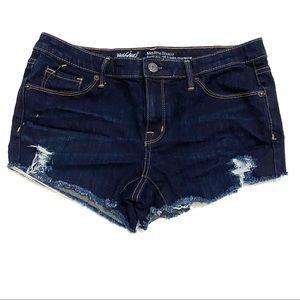 Mossimo Dark Blue Cut Off Distressed Denim Shorts